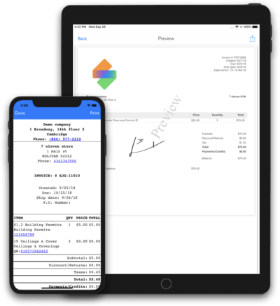 mobile sales order invoice