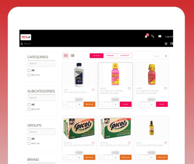 catálogo de productos digitales en la aplicación